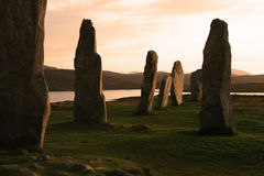 Ancient Stones. Standing stone circle at Callanish, Isle of Lewis, Outer Hebrides. Photographed in late evening sunlight Stock Image