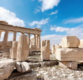 Ancient stones around Parthenon on the Acropolis, Athens, Greece Royalty Free Stock Photo