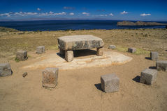 Ancient stones on Isla del Sol Royalty Free Stock Photography