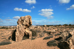 Ancient stones in Pafos archaeological park at Kato Stock Images