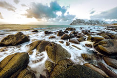 Ancient stones on the shores of cold Norwegian Sea at evening time. Lofoten islands. Beautiful Norway landscape. Stock Images
