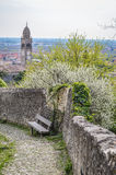 Ancient Stones Street in the Italian Walled City of Soave with Stone Bench. Stock Photography