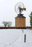 Ancient stones windmill in winter Royalty Free Stock Photos