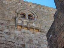 Ancient Stonework, Church of the Nativity, Bethlehem. Detail of the ancient stonework in an inner courtyard of the Byzantine Church of the Nativity, also stock image