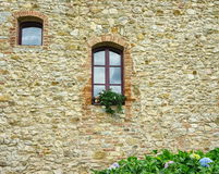 Ancient stonework wall. With window Royalty Free Stock Photography