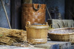 Ancient straw baskets in the mediaeval camp. In summer day Stock Image