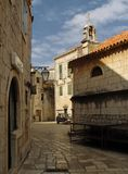 Ancient street. Street in ancient adriatic town. Croatia Royalty Free Stock Photos
