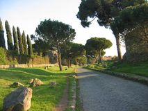 Ancient street Appia Antica with a part to the shade in Rome Italy. Beauty in nature. Ancient road. Park of Appia Antica. Different kind of trees. Green grass royalty free stock images
