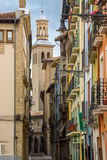Ancient street with the Cathedral of Royal Saint Mary of Pamplona. Royalty Free Stock Images