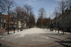 Ancient street in the city of Den Haag named lange voorhout in the Netherlands.  royalty free stock photography