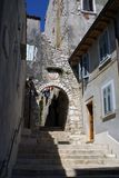 Ancient street in the city of Rovinj Istria Royalty Free Stock Image