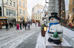 The ancient street decorated to Christmas in Tallinn. Royalty Free Stock Image