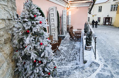 The ancient street decorated to Christmas in Tallinn. Royalty Free Stock Photography