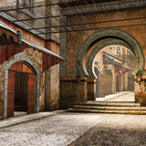 Ancient street with gates Royalty Free Stock Image