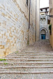 Ancient street in Girona Stock Photography