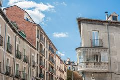 Ancient street of the Granja de San Ildefonso, Spain. Ancient street of the Granja de San Ildefonso in Segovia, Spain Stock Images