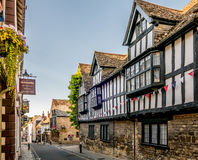 Ancient Street in the Historic Town of Sherborne. Medieval and Georgian buildings making up the main shopping street in Sherborne, Dorset UK Stock Photography