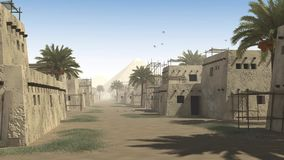 Ancient street with mud huts