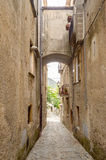 Ancient street in old town of a southern Italy village Royalty Free Stock Images