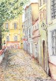 Ancient street. Pencil and watercolor on paper stock illustration
