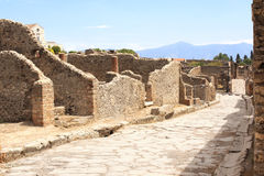 Ancient street in Pompeii, Italy Royalty Free Stock Photos
