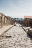 Ancient Street of Pompeii Toward Vesuvius Royalty Free Stock Photos