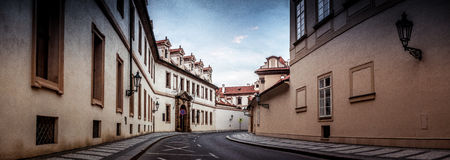 Ancient street in Prague, without people royalty free stock photography