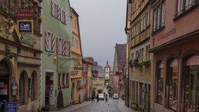Ancient street of rothenburg old houses stock image