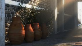 Ancient street with shadows, pitchers and plants Royalty Free Stock Photography