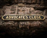 Ancient Street Sign In Edinburgh Scotland Stock Photo