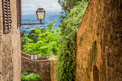 Ancient street in a small town in Tuscany Royalty Free Stock Images