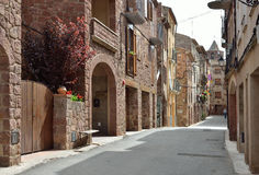 The ancient street of the Spanish town Prades Stock Photos