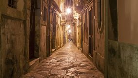 Ancient street of Syracuse Siracusa, Sarausa at night-- historic city in Sicily, Italy Ken burns effect