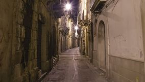 Ancient street of Syracuse Siracusa, Sarausa at night-- historic city in Sicily, Italy Ken burns effect.  stock video footage