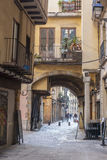 Ancient street view in historic center, Ciutat Vella, Barcelona Royalty Free Stock Image