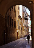 Ancient streets of Barrio Gotico. Barcelona Stock Image