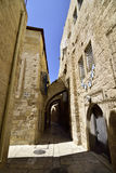 Ancient streets in Old City of Jerusalem. Royalty Free Stock Photos