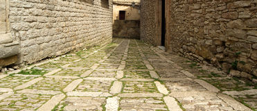 Ancient streets in old italian style. Erice Royalty Free Stock Photo