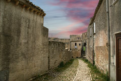 Ancient streets in old italian style. Erice, Sicily Royalty Free Stock Images