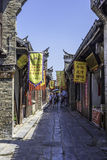Ancient streets paved with rectangular stone plate stock images