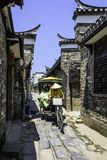 Ancient streets paved with rectangular stone plate royalty free stock photo