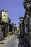 Ancient streets paved with rectangular stone plate stock photography