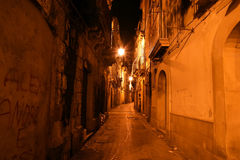 Ancient streets of Syracuse (Siracusa, Sarausa) at night Royalty Free Stock Images
