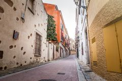 Ancient streets and yards of Tossa De Mar city, Catalonia, Spain, Europe royalty free stock photos