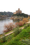 Ancient Stronghold. Historical Castle of Almourol amidst the Tagus River waters, Portugal,E.U Stock Photos