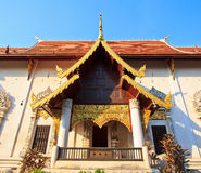 Ancient structure called Ho Kham Luang at the temple Stock Image