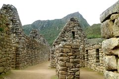 Ancient structure of Machu Picchu, UNESCO World Heritage Archaeological site in Urubamba Province, Cusco Region, Peru. South America stock images