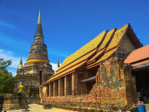 Ancient structure with old pagodas against blue sk Stock Image