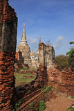Ancient structure with old pagodas at Wat Phra Sri Sanphet Royalty Free Stock Photos