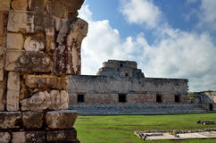 Ancient structure in one of the squares in the city of Uxmal in Stock Photo